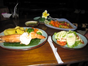 Tigrinė krevetė ir curry vištiena